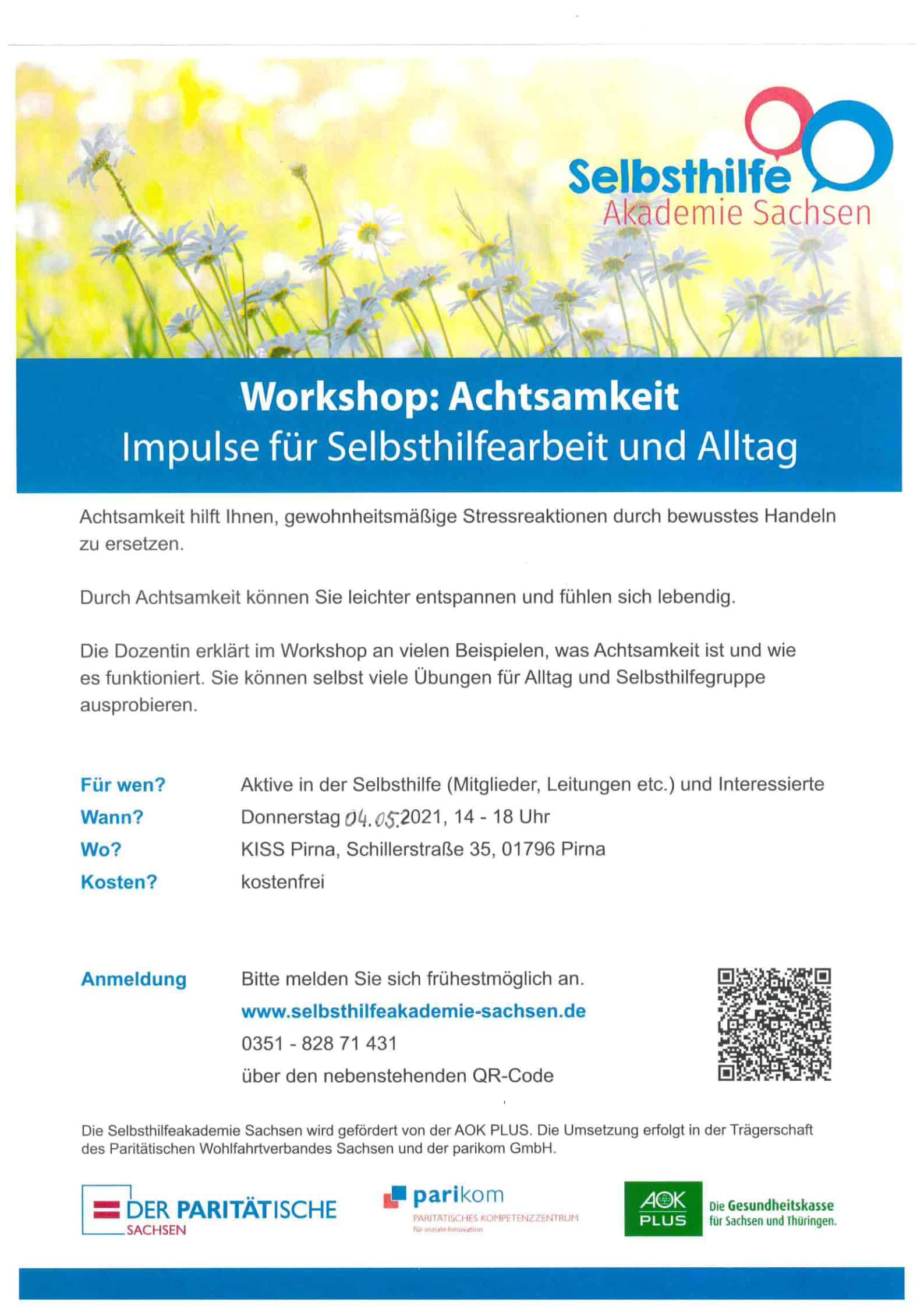 """Workshop zum Thema """"Achtsamkeit - Impulse für die Selbsthilfearbeit und Alltag"""""""